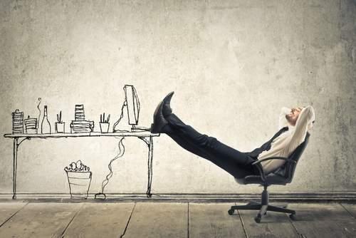 Businessman casually reflecting, changing mindset